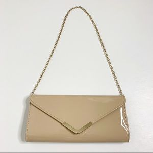 5/$25 Aldo Nude Clutch Purse with Gold Chain